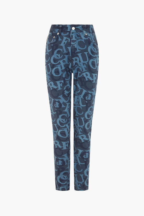 All Over Jacquard Tara Tapered Jeans Blue
